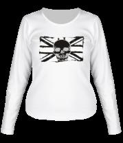 Женская футболка с длинным рукавом Британский флаг с черепом