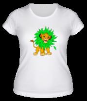 Женская футболка  Симба в листве