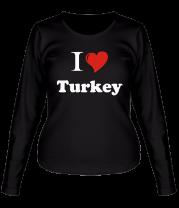 Женская футболка с длинным рукавом I love turkey