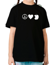 Детская футболка  Peace Love Apple
