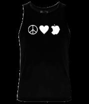 Мужская майка Peace Love Apple