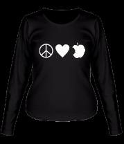 Женская футболка с длинным рукавом Peace Love Apple