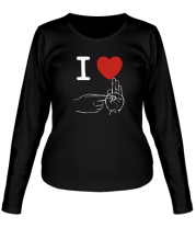 Женская футболка с длинным рукавом I love sex