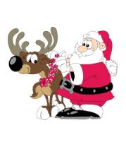 Толстовка без капюшона Дед Мороз с оленем