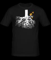 Мужская футболка  Корни дерева и птички