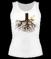 Женская майка борцовка Корни дерева и птички