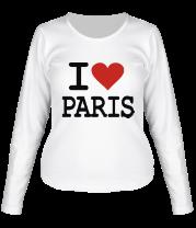 Женская футболка с длинным рукавом I love Paris