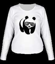 Женская футболка с длинным рукавом Панда в очках жалюзи