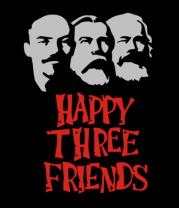 Мужская футболка  Happy Three Friends - Ленин Маркс и Энгельс