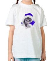 Детская футболка  Новогодняя кошечка