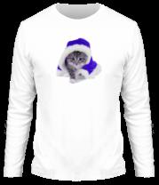Мужская футболка с длинным рукавом Новогодняя кошечка