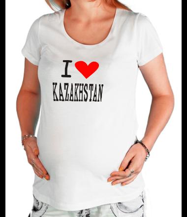 Футболка для беременных I love Kazakhstan
