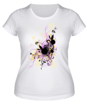 Женская футболка  2 rabbit in flowers