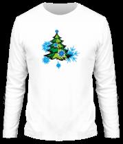 Мужская футболка с длинным рукавом Новгодняя ёлка