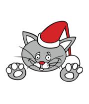Толстовка без капюшона Новогодняя кошка