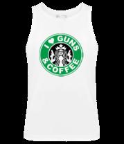 Мужская майка i live guns & coffe