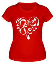 Женская футболка  Love you сердце