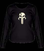Женская футболка с длинным рукавом Mandalorian Punisher glow