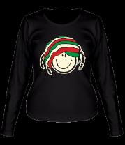 Женская футболка с длинным рукавом Смайл растаман светится