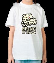 Детская футболка  Бульдог с гантелей - положи это на место (светится в темноте)