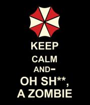 Мужская футболка с длинным рукавом Keep calm and oh sh**, a zombie