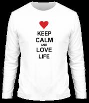 Мужская футболка с длинным рукавом Keep calm and love life