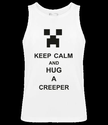 Мужская майка keep calm and hug a creeper
