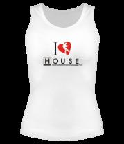 Женская майка борцовка I Love House