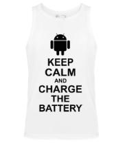 Мужская майка Keep calm and charge the battery (android)